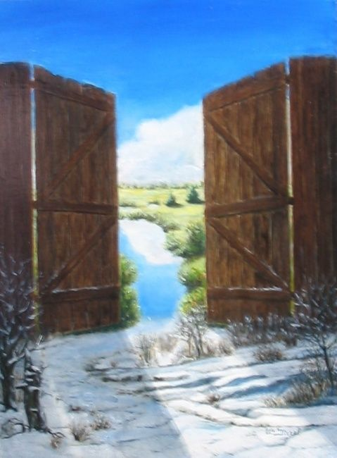 Porte hiver - Painting,  40x30 cm ©2010 by Lou Streel -                            Contemporary painting, fantasmes