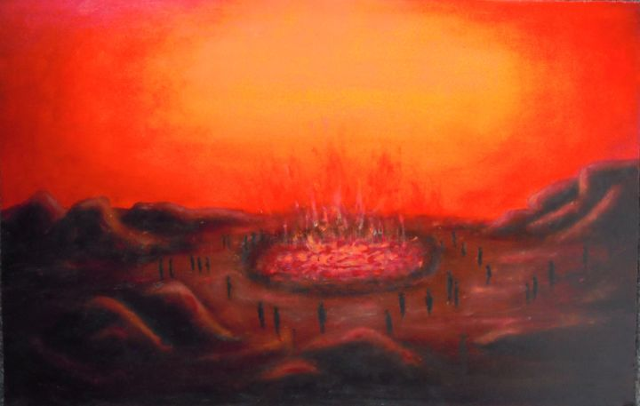 fournaise- - Painting,  60x40 cm ©2013 by Lou Streel -                            Contemporary painting, Les rouges