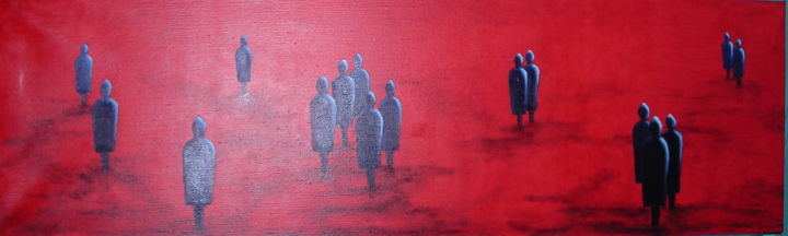 bureau-2. - Painting,  130x40 cm ©2014 by Lou Streel -                                        Contemporary painting, Wood