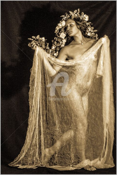 Channeling Isadora  ~ AWARDED Art Work - Photography,  20x16 in ©2014 by Lou Zucchi -                                                        Figurative Art, Canvas, Nude