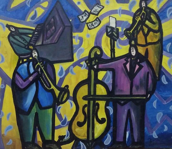 """Painting titled """"Músicos"""" by Luis Soto, Original Art, Acrylic"""
