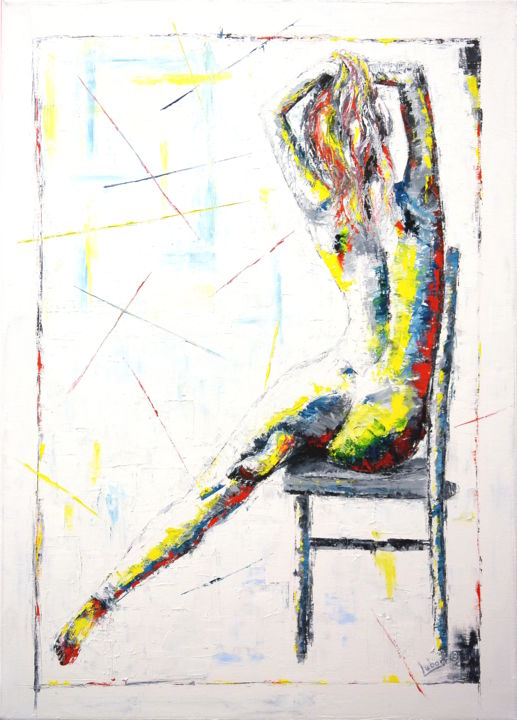 Untouchable - Painting,  90x65x2 cm ©2019 by Lubosh Valenta -                                                                                                                Abstract Art, Contemporary painting, Figurative Art, Impressionism, Abstract Art, Body, Nude, Women