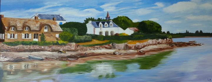 St Cado - Painting,  15.8x39.4 in, ©2013 by Luc Manoury -
