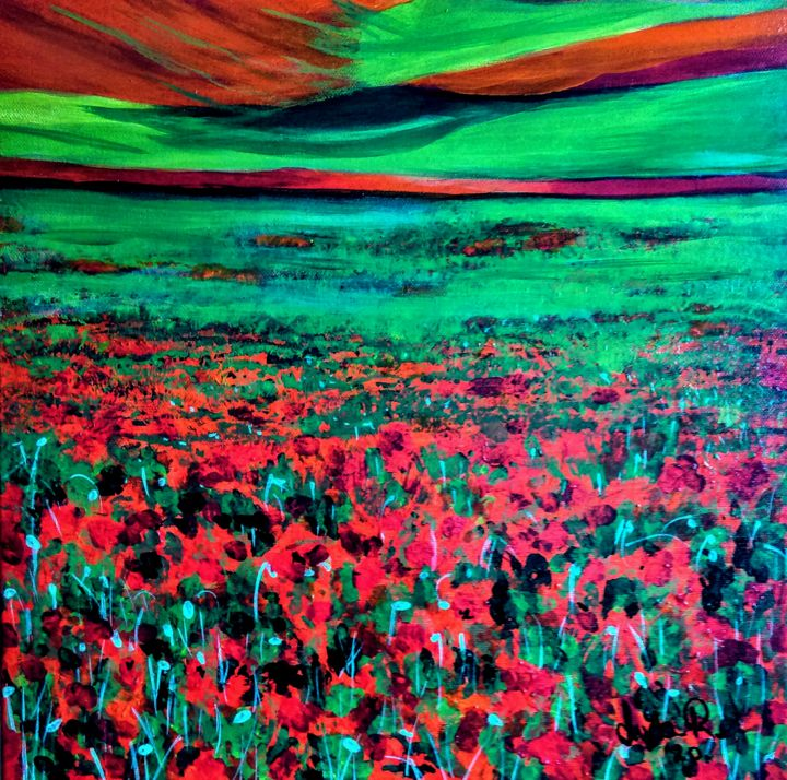 """Painting titled """"Red and green"""" by Luca Radmanic, Original Art, Acrylic"""