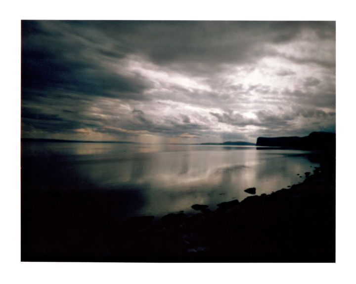 norway - E69 - porsangerfjord #02 - Photography,  15.8x19.7 in, ©2014 by Luca Baldassari -                                                                                                                                                                                                                                                                                                                                                                                                                                                                                                                                                                                                                                                                                                                                                                                                                                                                                                                                      Water, Places, Nature, Landscape, Travel, norway, E69, porsangerfjord, norvegia, pinhole, foro stenopeico, fiordo, fiord, mare, sea, nuvole, clouds, thunderstorm, temporale, Limited Edition