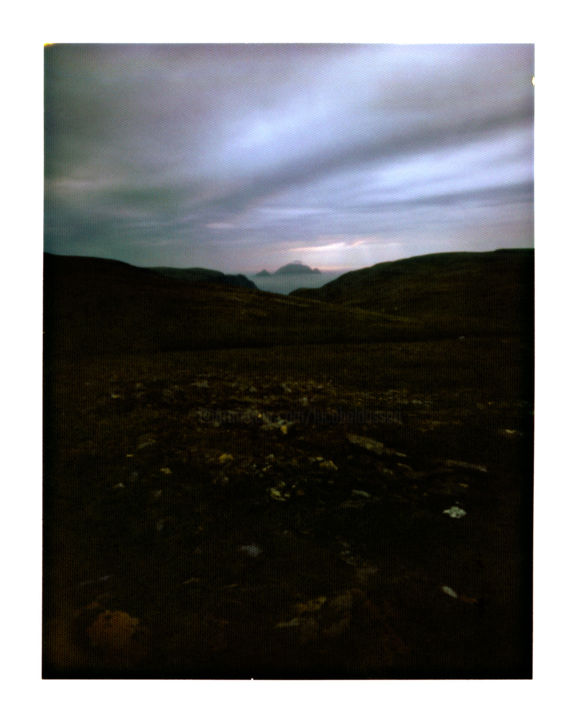 norway - knivskjellodden #02 - Photography,  40x50 cm ©2014 by Luca Baldassari -                                                                            Places, Nature, Landscape, Outer Space, Travel, norway  knivskjellodden, norway, knivskjellodden, tramonto, sunset, panorama, landscape, norvegia, pinhole, foro stenopeico