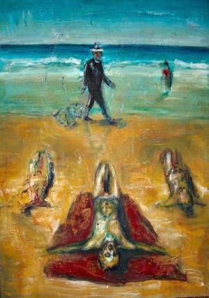 The stranded - Painting,  39.4x27.6 in, ©2009 by Luca Palazzi -                                                                                                                                                                                                                                                                                                                                                                                                                                                                                                                                                                                                                                                          Neo Expressionism, Neo exspressionist, german expressionism, neo espressionismo, neo surrealism, indipendent art, Postmodernism, Postmodern art, New European Painting, velasquez, francis bacon, balthus, baselitz, ensor