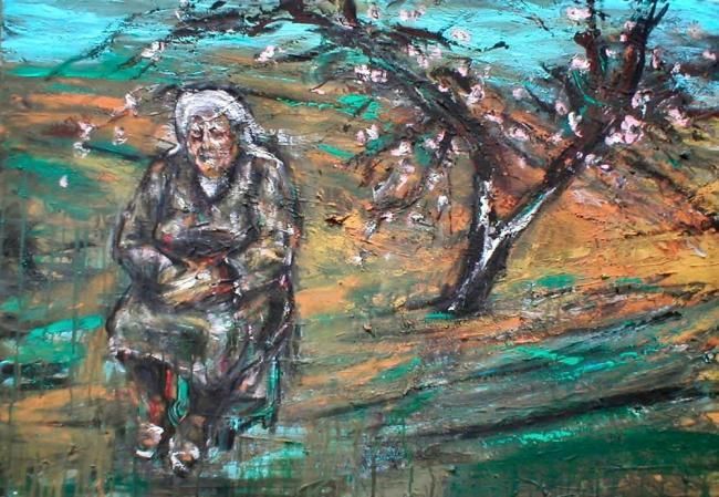 Old Woman with tree - Painting,  70x100 cm ©2011 by Luca Palazzi -                            Abstract Expressionism, neo expressionism; neoespressionismo; neo espressionismo, van gogh