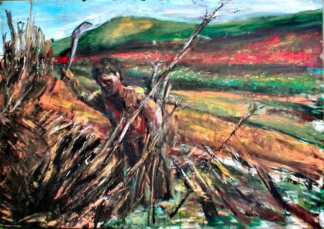 Man_in_landscape_-_100_x_70.jpg - Painting,  27.6x39.4 in, ©2011 by Luca Palazzi -                                                                                                                                                      Neo Expressionism, Neo espressionist, neo espressionismo