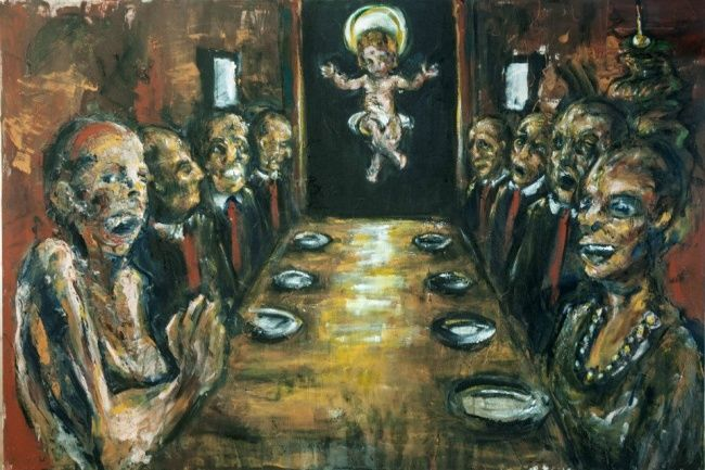 The Last Dinner - Painting,  70x100 cm ©2012 by Luca Palazzi -            neo expressionist, horror, dark, neo expressionism, last dinner