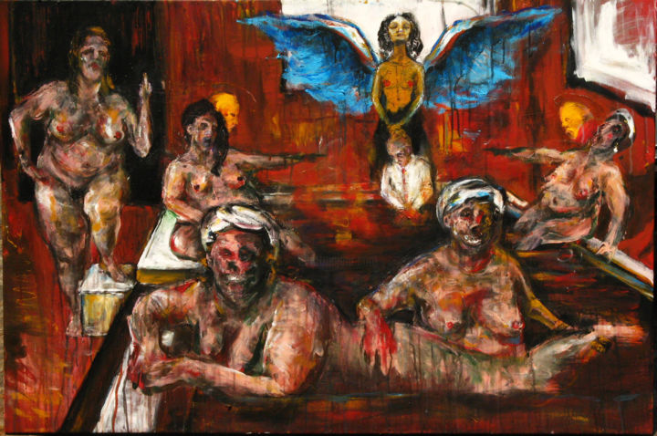 Sauna Society - Painting,  1.6x31.5x47.2 in, ©2015 by Luca Palazzi -                                                                                                                                                                                                                                                                                                                                                              Expressionism, expressionism-591, Pop Culture / celebrity, neo expressionism, Expressionism, NEO EXPRESSIONIST, Neo Espressionismo