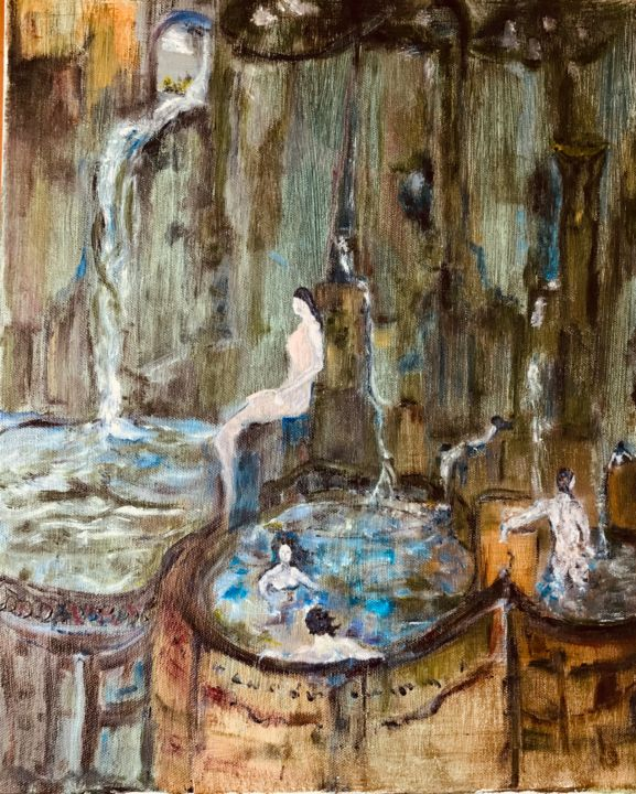 """Painting titled """"The spas"""" by Luca Zoccali, Original Art, Oil"""