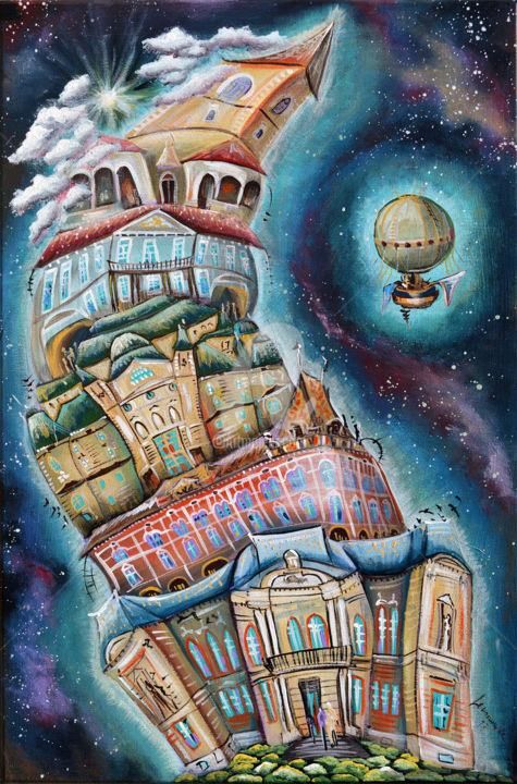"""Painting titled """"Kosice Town of cult…"""" by Luccho, Original Art, Acrylic"""