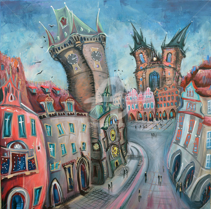 """Painting titled """"Prague Old Town"""" by Luccho, Original Art, Acrylic"""