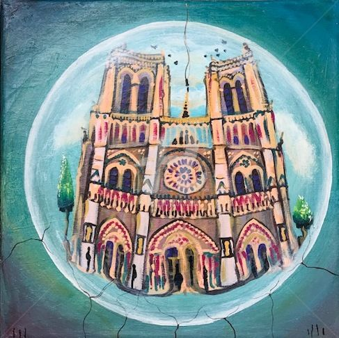 """Painting titled """"Notre Dame"""" by Luccho, Original Art, Acrylic"""