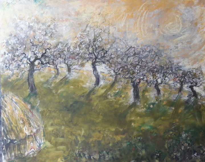 Zomerse boomgaard in Dworp - Painting,  19.7x23.6x0.4 in, ©1998 by Luc Devondel -