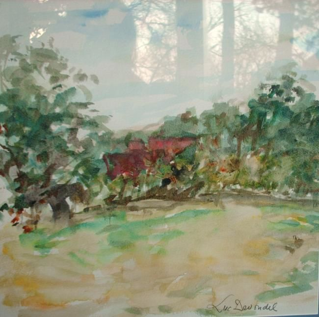 Waterverf landschap Sint-Genesius-Rode - Painting, ©1990 by Luc Devondel -