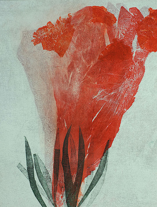 With Love - Printmaking,  11.8x7.9 in, ©2019 by Luce -                                                                                                                                                                                                                                                                                                                                                                                                                                                      Figurative, figurative-594, Love / Romance, Flower, Monotype, Amour, Fleurs, Rouge, huile