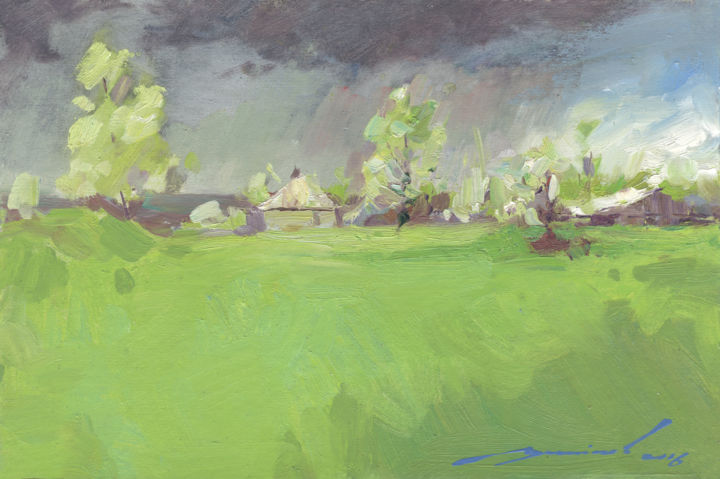 storm is coming - Painting,  7.9x11.8x0.1 in, ©2016 by Olexiy Luchnikov -                                                                                                                                                                                                                                                                                                                                                                                                                                                                                                                                                                                                                                                                                                                                                                                                                                                                                                                                                                                                                                                                                                                                              Expressionism, expressionism-591, Other, Landscape, storm, rain, coming, sun, contrat, huge, clouds, tree, village, plein air, etude, country, countryside, grass, spring, summer, sky, field, dark, light