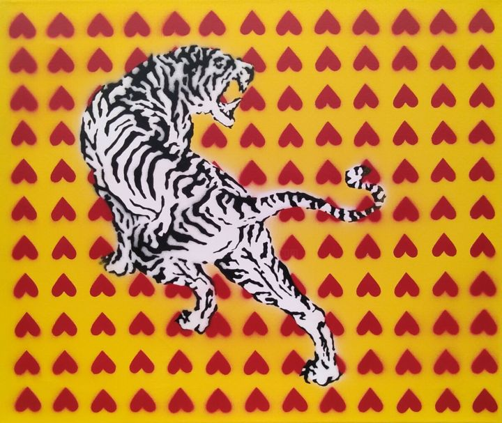 """Painting titled """"tiger"""" by Lucia Krosnerová, Original Art, Spray paint"""