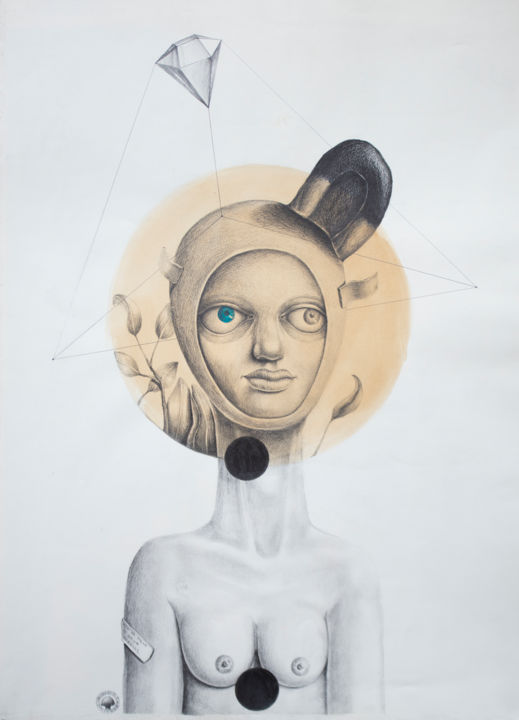 """Drawing titled """"""""Generation androgy…"""" by Lucian Szekely-Rafan, Original Art, Pencil"""