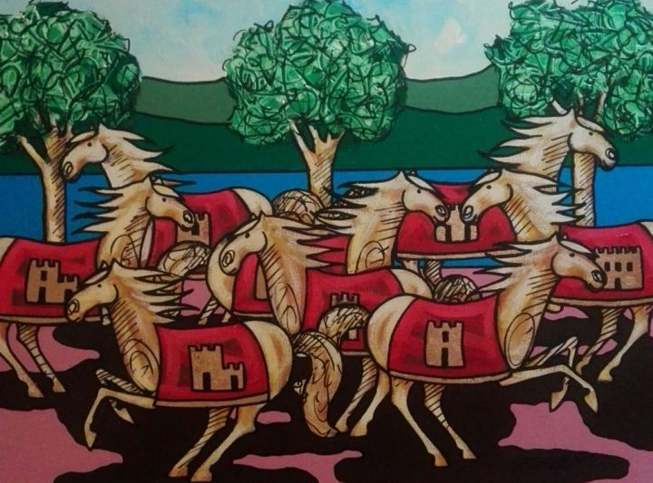 img-20180106-102319.jpg - Painting,  50x70x2 cm ©2005 by cesar -                                                        Figurative Art, Canvas, Horses