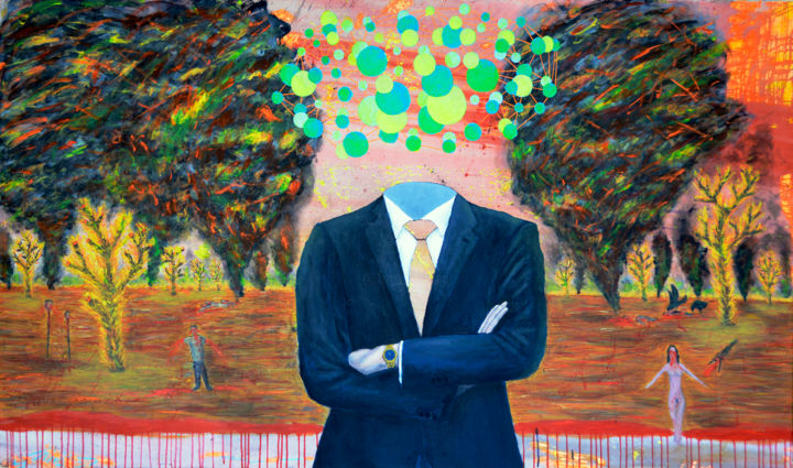 Eficiente - Painting,  47.2x78.7x0.8 in, ©2016 by Luciano Giusti -                                                                                                                                                                                                                                                                                                                                                                                                                                                                                                  Surrealism, surrealism-627, Politics, luciano giusti, capitalism against the environment, capitalismo, medioambiente, arte, art, arte argentino