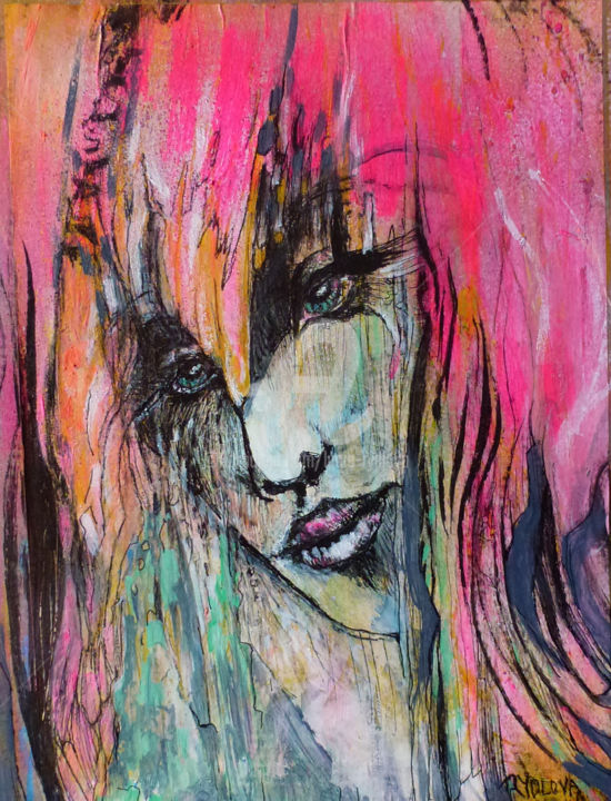 Human / woman in pink / pink lady II - Painting,  35x30x0.4 cm ©2018 by Lucie Rydlova -                                                                                                                                                                        Abstract Art, Figurative Art, Pop Art, Folk, Portraiture, Street Art (Urban Art), Paper, Outer Space, World Culture, Fantasy, Women, Heroic-Fantasy, art, peinture, pink, rose, portrait, woman, femme girl, fille, pousiere, terre, cosmos, avatar