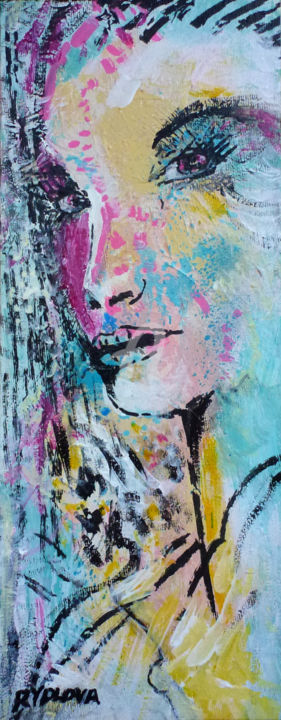 Cache cache - Painting,  40x15x2 cm ©2018 by Lucie Rydlova -                                                                                                                                                            Abstract Art, Figurative Art, Abstract Expressionism, Street Art (Urban Art), Cotton, Canvas, Colors, Women, Graffiti, Light, Portraits, regarde, jeu, femme, woman, cache, portrait, moderne, style