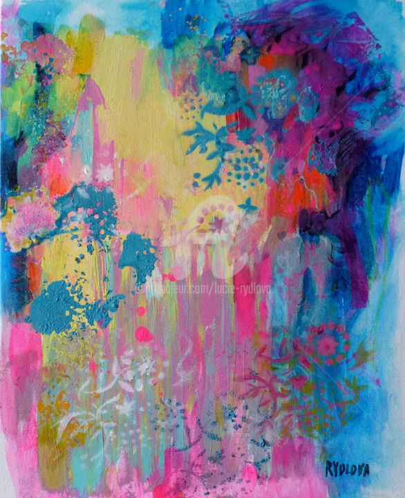 Lumière cristalline / univers végétal II - Painting,  41x33x2 cm ©2018 by Lucie Rydlova -                                                                                                                                                Abstract Art, Pop Art, Street Art (Urban Art), Cotton, Canvas, Abstract Art, Calligraphy, Outer Space, Colors, Graffiti, rose, monde, peinture, printemps, réve, fleur, musique, univers, abstrait, poeme, douceur, colorful, folie, roses, fluo, lumiere, crystalline, rydlova, moderne, contemporain, artcollecteur