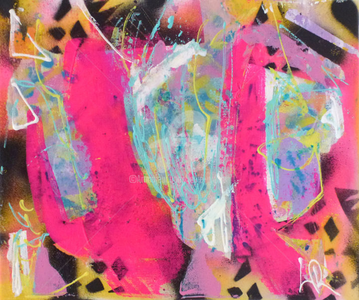 Folie rose - Peinture,  8,7x10,2x0,8 in, ©2018 par Lucie Rydlova -                                                                                                                                                                                                                                                                                                                                                                                                                                                                                                                                                                                          Abstract, abstract-570, Art abstrait, Couleurs, Graffiti, rose, folie, fort, couleur, fluo, colorful, insupportable