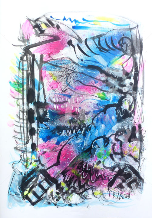 Dessin Sketch - Dessin,  19,3x11,4 in, ©2017 par Lucie Rydlova -                                                                                                                                                                                                                                                                                                                                                                                                                                                                                                                                                                                                                                                                                  Abstract, abstract-570, Art abstrait, Calligraphie, Cosmos, Graffiti, souffle, bleu, sketch, draw, lumiére, énergie, composition, encre