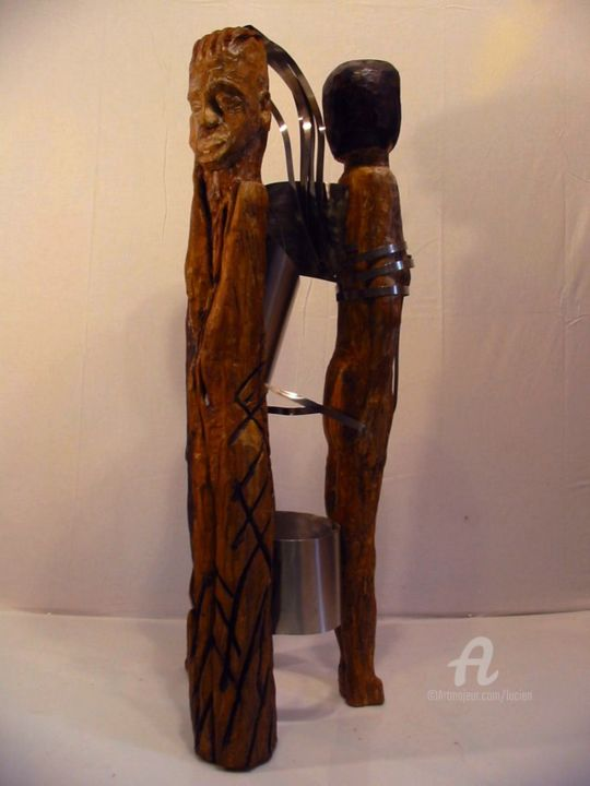 2011-dos-a-dos.jpg - Sculpture,  100x40x40 cm ©2010 by Étienne DUPÉ -                                                                                                            Outsider Art, Naive Art, Expressionism, Wood, Stainless Steel, Women, Men, dos