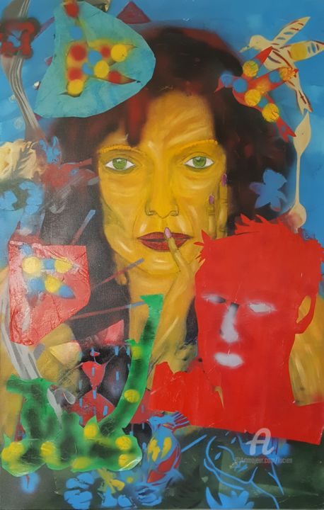 MAEVE au masque rouge - Painting,  116x75x2 cm ©2017 by Étienne DUPÉ -                                                                                                                                Outsider Art, Figurative Art, Contemporary painting, Portraiture, World Culture, Women, Portraits, People, Graffiti, collage, peinture, portrait, aerosol