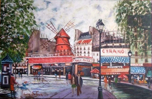 N2- Le Moulin rouge à Paris - Painting,  65x100 cm ©2008 by Lucien Dufour -                            Figurative Art, Le Moulin rouge à Paris