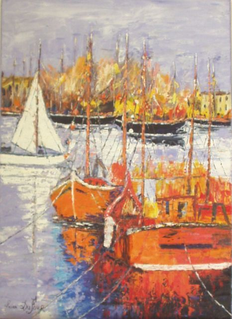 M4 - Marine en Provence - Painting,  27.6x19.7 in, ©2008 by Lucien Dufour -                                                                                                                                                                          Figurative, figurative-594, Provence marine bateaux mer