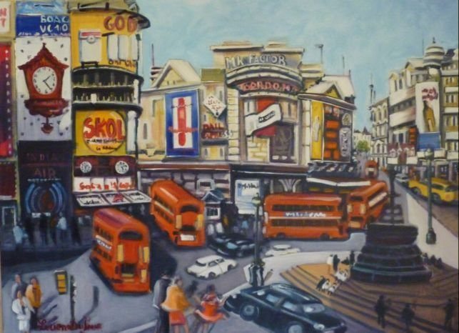 I12. Piccadilly Circus à Londres - Peinture,  28,7x31,5 in, ©2011 par Lucien Dufour -                                                                                                                                                                          Figurative, figurative-594, Piccadilly Circus à Londres