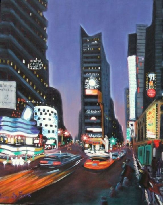 J13- New york City- - Painting,  116x89 cm ©2010 by Lucien Dufour -                        Figurative Art
