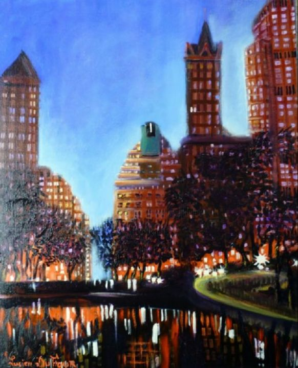 J15-Manhattan le soir- - Painting,  55x81 cm ©2010 by Lucien Dufour -                        Figurative Art