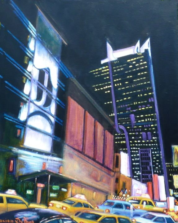 J17-New York la nuit- - Painting ©2014 by Lucien Dufour -                            Figurative Art, New York la nuit