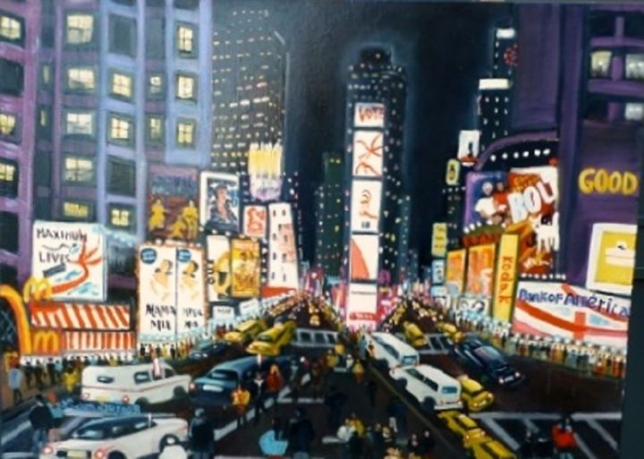 J20-New York qui bouge- - Painting,  73x100 cm ©2014 by Lucien Dufour -                            Figurative Art, New York qui bouge