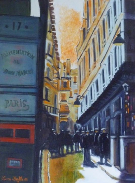 N10- Rue des trois Chandeliers à Paris - Painting,  73x54 cm ©2015 by Lucien Dufour -                                                            Figurative Art, Canvas, Cities, Rue de paris