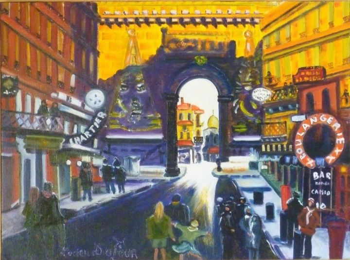 N12- Porte Saint Denis à Paris - Painting,  54x73 cm ©2015 by Lucien Dufour -                                                            Figurative Art, Canvas, Cities, Porte Saint Denis Paris