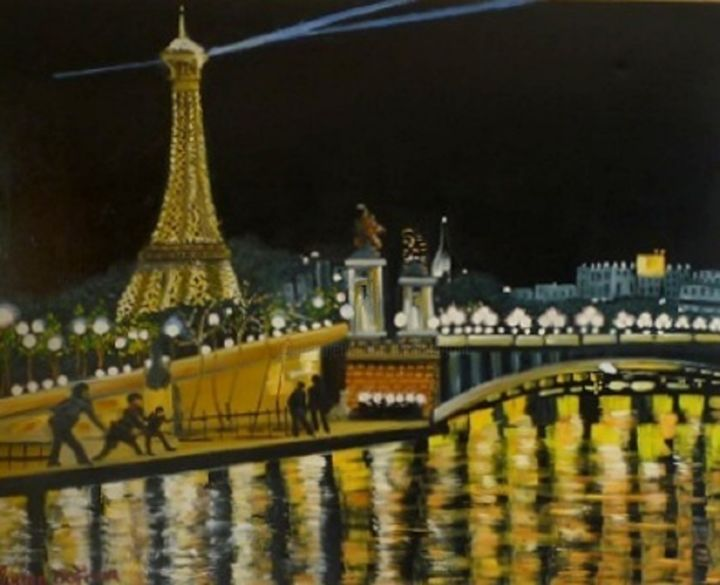 N13- Le Pont Alexandre III et la Tour Eiffel à Paris - Painting,  80x100 cm ©2015 by Lucien Dufour -                                                            Figurative Art, Canvas, Cities, Pont Alexandre III Paris