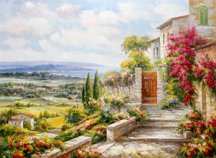 Tuscany Villages in Flower Field - Painting,  90x120x2.5 cm ©2017 by Lucio Campana -                                                                Impressionism, Flower, Garden, Landscape