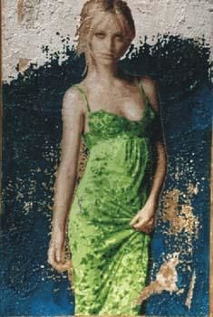 """Painting titled """"Donna in Versace 1"""" by Lucio Greco, Original Art,"""