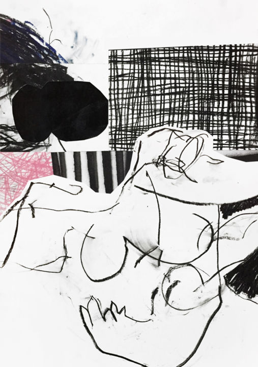 NUDE LYING SOMEWHERE - Collages,  23,6x16,5 in, ©2019 par Luc PIERRE -                                                                                                                                                                                                                                                                                                                                                                                                                                                                                                                                              Abstract, abstract-570, Art abstrait, Lumière, Noir et blanc, misedmedia, charcoal, acrylic, blackandwhite, paper, collage