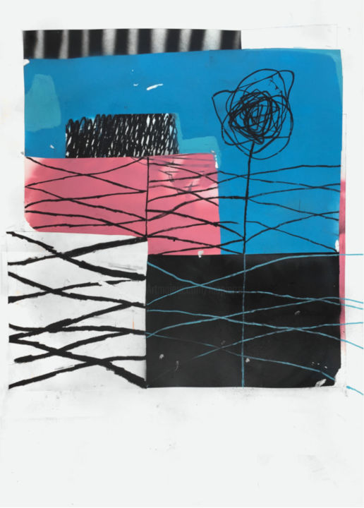 SO FAR AWAY - Collages,  33.1x23.6 in, ©2019 by Luc PIERRE -                                                                                                                                                                                                                                                                                                                                                                                                                                                                                                                                                                                                                                                                                                                                                                          Abstract, abstract-570, Abstract Art, Colors, Light, Black and White, collage, abstract, pastel, oilpastel, pink, line, blue, black, spraypaint, paper