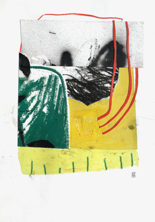 IN ALL LIKELIHOOD - Collages,  11.8x8.3 in, ©2019 by Luc PIERRE -                                                                                                                                                                                                                                                                                                                                                                                                                                                                                                                                                                                                                                                                                                                                                                          Abstract, abstract-570, Abstract Art, Colors, Light, Black and White, collage, lucpierre, lucampierre, spray, paper, papier, oilpastel, abstract, green, yellow