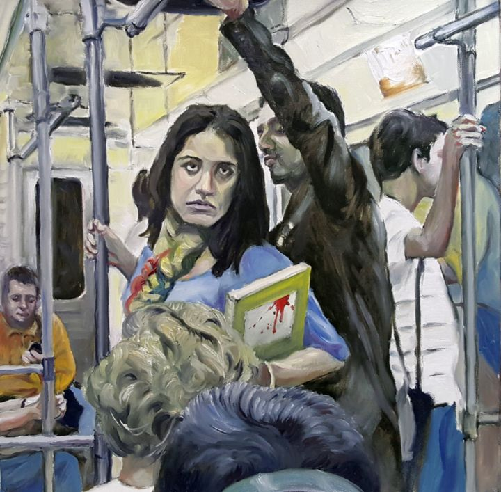Métro - Painting,  13.8x13.8 in, ©2020 by Ludec Art -                                                                                                                          Figurative, figurative-594